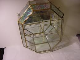 Curio Cabinets Ebay Details About Vntg Brass Glass Mirror Table Top Wall Curio Lrg