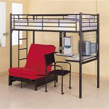 Loft Bed With Futon And Desk Black Metal Sized Loft Bed With Built In Desk Futon Frame