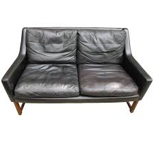 mid century modern black leather loveseat at 1stdibs