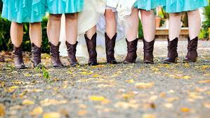 country western wedding bridesmaid dresses cowgirl boots and