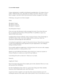 General Cover Letter Examples For Resume by Generic Cover Letter For Resume Free Resume Example And Writing