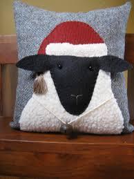 christmas sheep primitive pillow 20 00 via etsy needle punch