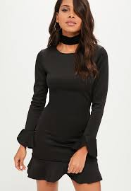 sleeved black dress black sleeve frill hem scuba shift dress missguided