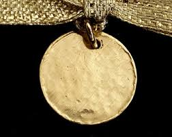 18k gold disc pendant gold tag personalized jewelry initial