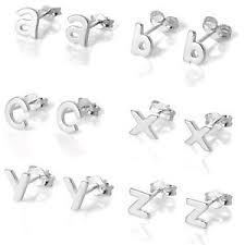 real earrings 925 real sterling silver alphabet letter stud earrings initial