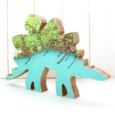personalised map location dinosaur ornament by bombus