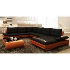 m canapé canapé d angle design panoramique noir et orange m achat vente