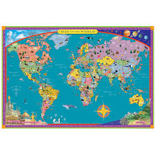 Labeled World Map by Children U0027s World Map Kids Wall Map Uncommongoods