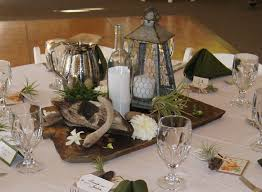 Slate And Driftwood Centerpieces