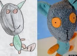 children u0027s drawings transformed into stuffed animals kid