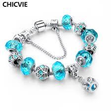 crystal charm bracelet beads images Chicvie blue crystal charm bracelets bangles for women with jpg