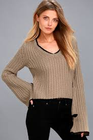 brown sweater v neck sweater bell sleeve sweater knit sweater