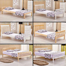 White Wood Bed Frame Solid Wood Bed Frames And Divan Bases Ebay