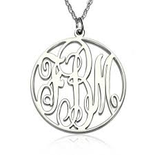 circle monogram necklace personalized necklace fancy circle monogram nekclace silver