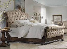 splendid smoke grey tufted leather king size sleigh bed design