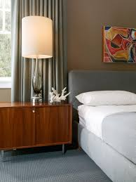 Side Table With Built In Lamp Gray Curtain And Glass Window Near Nice Armature Side Interesting
