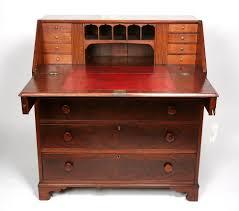Cherry Secretary Desk by Antique Norfolk Virginia Va Signed Cherry Drop Front Secretary