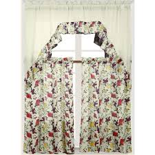 embroidered kitchen curtain set complete tier and swag set