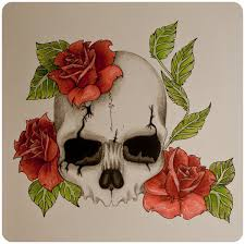 skull n roses in color by skrzynia on deviantart