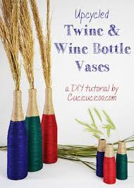 Diy Wine Bottle Vases Diy Wine Bottle Vases With Colored Twine Cucicucicoo