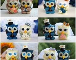military wedding cake topper owl love birds with hand painted
