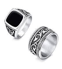 men vintage rings images Finrezio 2pcs stainless steel rings for men vintage biker signet jpg
