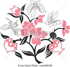 vector clipart of butterfly illustration with flower design