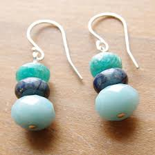 blue stone necklace earrings images Amozonite earrings natural stone earrings peruvian blue jpg