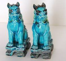 blue foo dogs pair of ceramic foo dogs so hideouds that they are