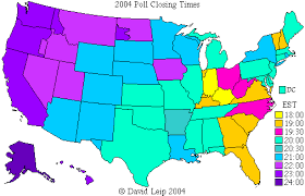 map showing time zones in usa poll closing times the atlas weblog