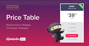 price plan design new price table woocommerce widgets for elementor