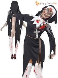 mens ladies zombie bloody nun vicar priest halloween fancy dress