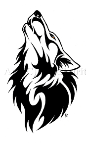 wolf howling tribal
