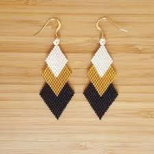 Handmade Seed Beaded Gold Plated Saltire Gaia Aqua Gold Plated And Glass Miyuki Beads Weaving