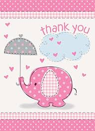 thank you baby shower umbrella elephant girl baby shower thank you notes w