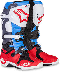leather motorcycle riding boots alpinestars mens leather red white blue dirtbike offroad tech 10