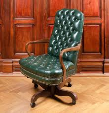 Leather Office Chair Vintage Tufted Green Leather Office Chair Ebth