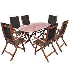 Outdoor Dining Chair Vidaxl Seven Piece Folding Outdoor Dining Set Acacia Wood Vidaxl Com