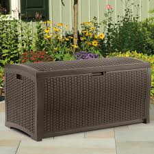 Waterproof Patio Storage Bench by Suncast Resin 22 Gallon Outdoor Storage Bench Seat Mocha Brown