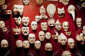 wall masks white venice masks on the wall stock photo picture and