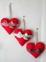 christmas tree decorations felt hearts set of 3 christmas tree