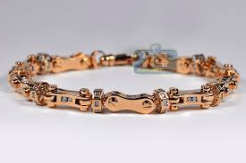 mens rose gold bracelet images Mens diamond bullet link bracelet 14k rose gold 260 ct 8 mm 925 jpg