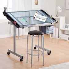 Glass Top Drafting Drawing Table Studio Designs Glass Top 2 Vision Rolling Drafting Table