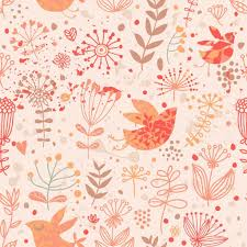 bright floral wallpaper with cute birds and autumn flowers u2014 stock
