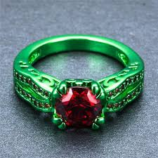 zircon rings images Green gold and cherry red zircon ring slim wallet company jpg