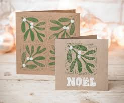 make your own cards mistletoe and block print