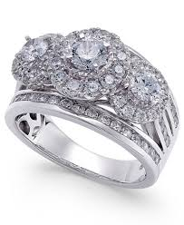 cluster rings diamond cluster ring 2 ct t w in 14k white gold rings