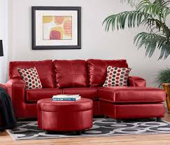 fetching living room design using round red leather ottoman