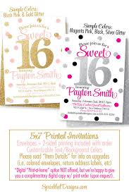 Pink And Black Sweet 16 Decorations Sweet 16 Invitations Pink And Gold Glitter Sweet Sixteen