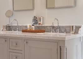 Backsplash Ideas For Bathrooms Gray Bathroom Vanity With Marble Backsplash Shelf Transitional